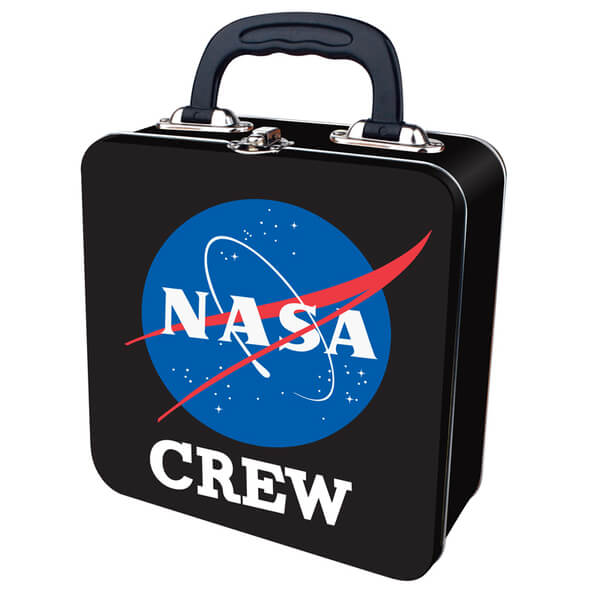 NASA Crew Embossed Tin Tote Box - Black