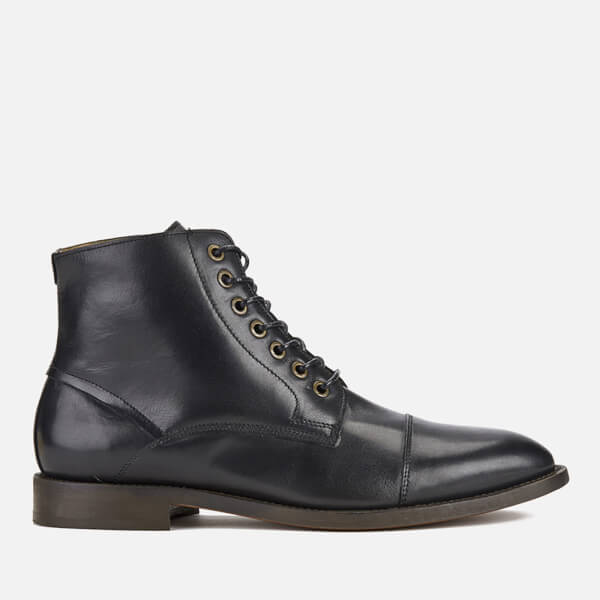 Hudson London Men's Seymour Leather Toe Cap Lace Up Boots - Black