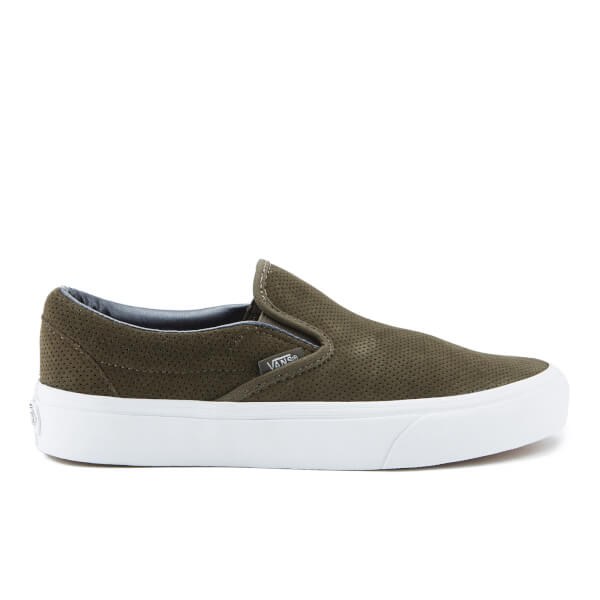 Vans Women's Classic Slip On Perforated Suede Trainers - Tarmac/True White