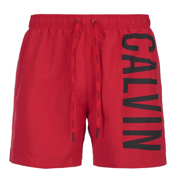 35fa16be8f330 Calvin Klein Men's CK One Logo Intense Power Swim Shorts - Chinese Red:  Image 1