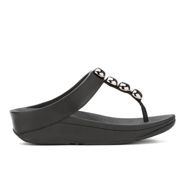 471880a0fcb2 FitFlop Women s Rola Leather Toe-Post Sandals - Black  Image 1