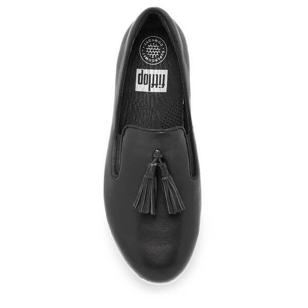 4dc6f26f3e24e FitFlop Women s Tassel Superskate Leather Slip On Trainers - Black  Image 3