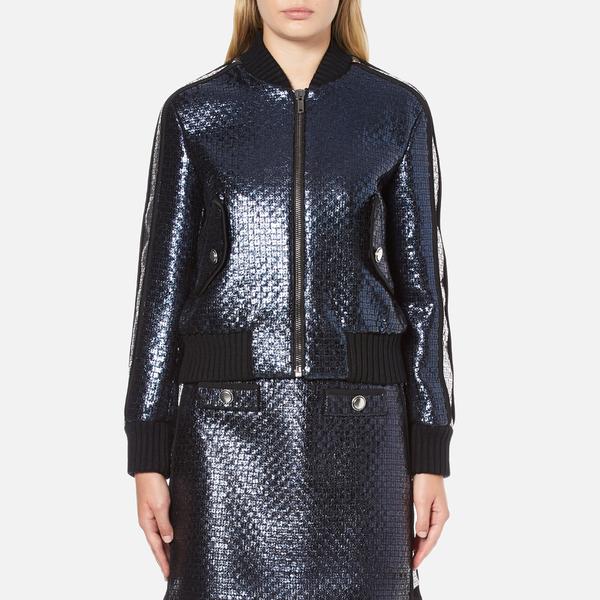 MSGM Women's Metallic Tweed Bomber Jacket - Blue