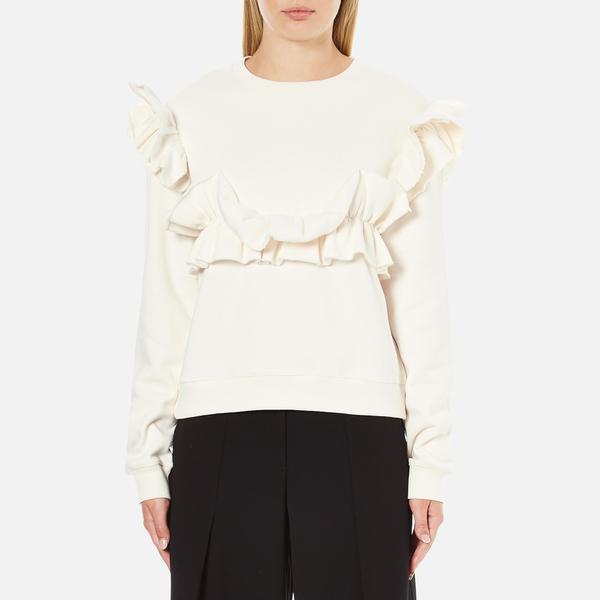 MSGM Women's Ripped Effect Frill Sweatshirt - Cream