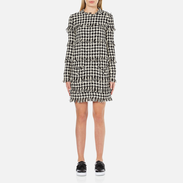 MSGM Women's Dog Tooth Fringed Dress - Multi