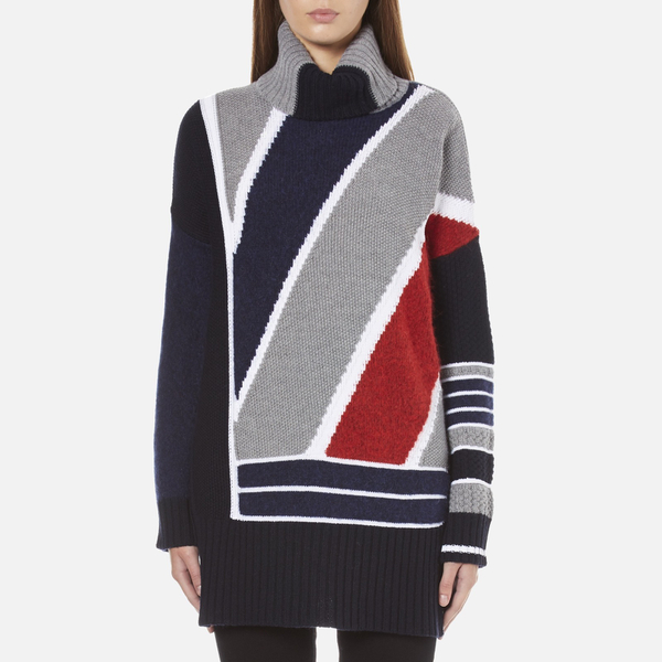 KENZO Women's Multi Colour Abstract Roll Neck Jumper - Midnight Blue
