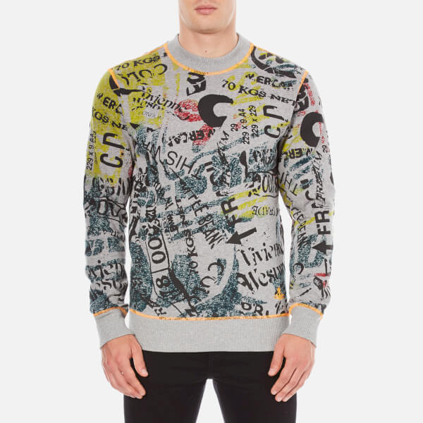 Vivienne Westwood Anglomania Men's Newspaper Rubbish Jumper - Grey