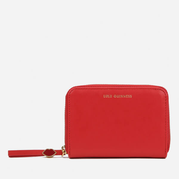 Lulu Guinness Women S Small Zip Around Wallet Red Free