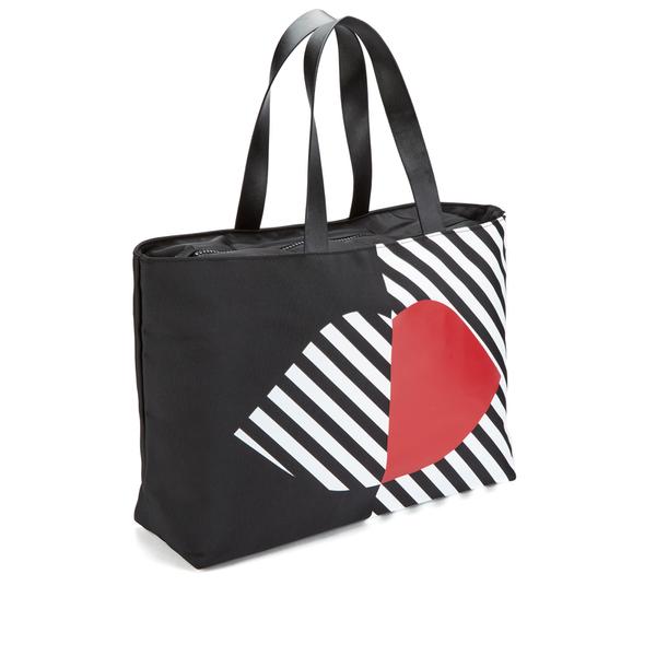 Lulu Guinness Women S Larysa 50 Lips Large Stripe Tote Bag Black White