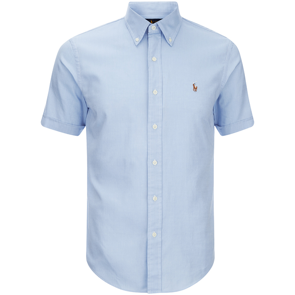 Polo ralph lauren men 39 s short sleeve oxford shirt light for Light blue short sleeve shirt mens