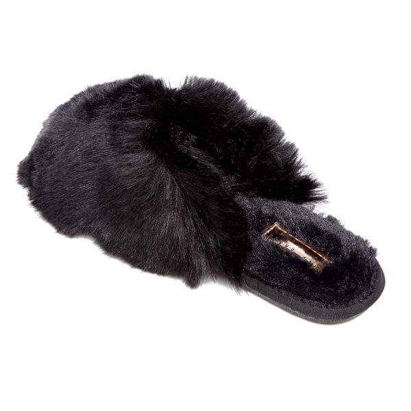 37e8aca90a3318 Ted Baker Women s Hawleth Faux Fur Slippers - Black  Image 4