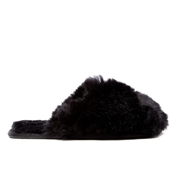 8cfb065829dd4b Ted Baker Women s Hawleth Faux Fur Slippers - Black  Image 1