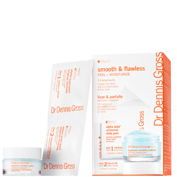 Dr Dennis Gross Smooth and Flawless Peel and Moisturise Kit with Hyaluronic Moisture Cushion