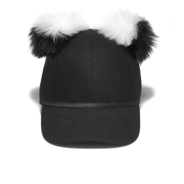 Charlotte Simone Women's Sass Cap Double Pom - Black/White - One Size