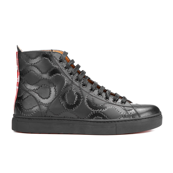 Vivienne Westwood MAN Men's High Top Embossed Squiggle Leather Trainers  - Black