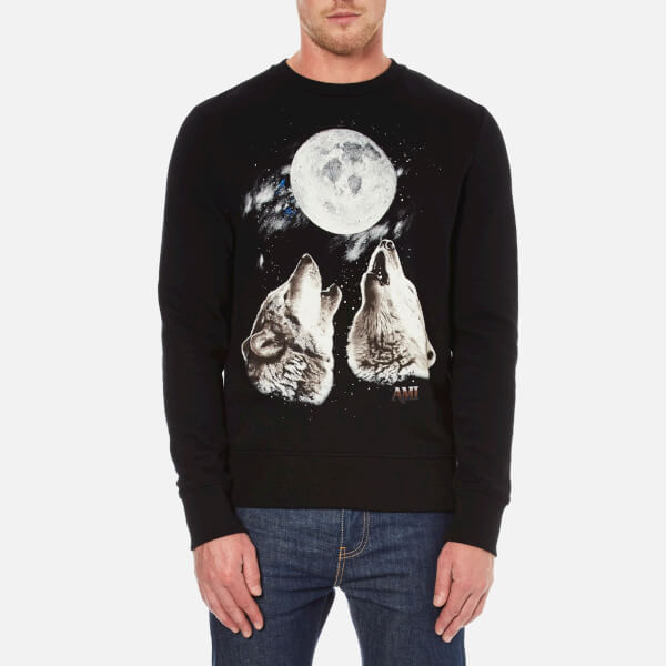 AMI Men's Oversized Crew Neck Sweatshirt - Black