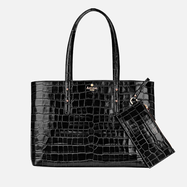 Aspinal of London Women's Regent Croc Tote - Black Croc