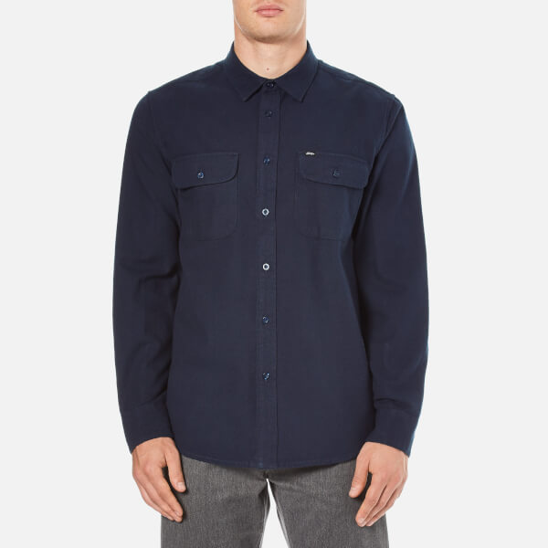 OBEY Clothing Men's Gunner Woven Flannel Shirt - Navy