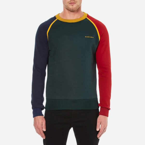 Carven Men's Colour Blocked Sweatshirt - Sapin/Encre/Grenat