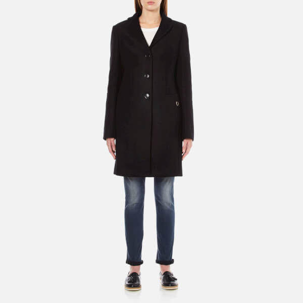 Love Moschino Women's Long Heart Detail Coat - Black