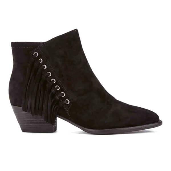 Ash Women's Lenny Suede Tassle Ankle Boots - Black