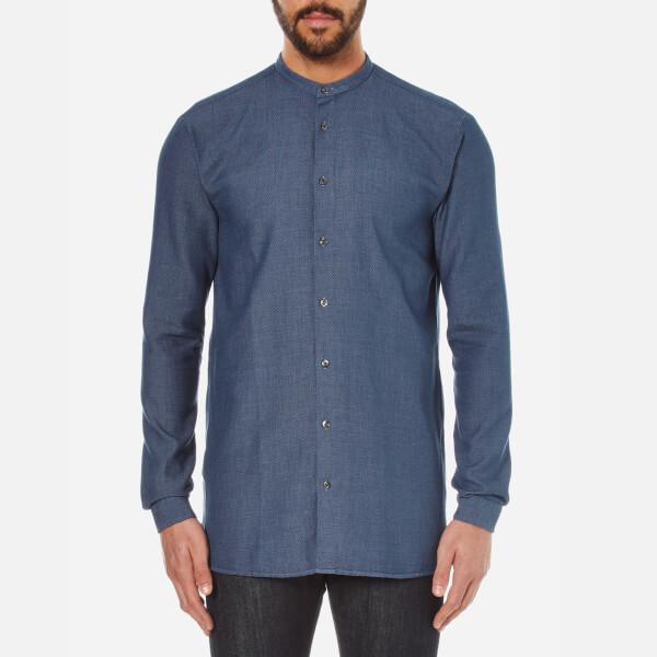 HUGO Men's Eddison Long Fit Grandad Collar Shirt - Navy