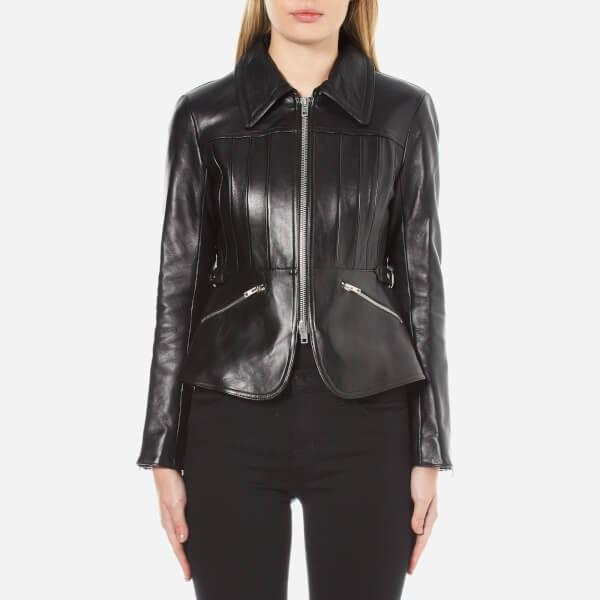 Alexander Wang Women's Shrunken Peplum Jacket with Combo Collar - Jet
