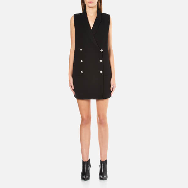 Versus Versace Women's Sleeveless Cross Back Tuxedo Waistcoat Dress - Black