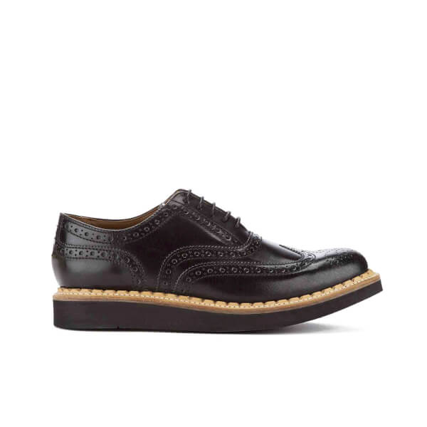 Grenson Men's Stanley V Crackle Leather Brogues - Black