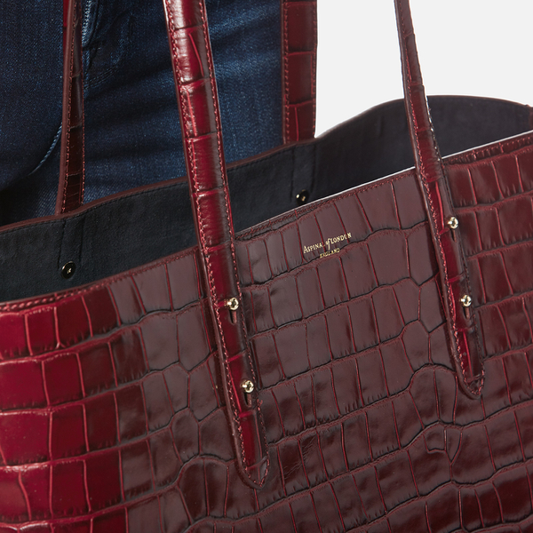 Aspinal Of London Women S Regent Croc Tote Bag Bordeaux Image 3