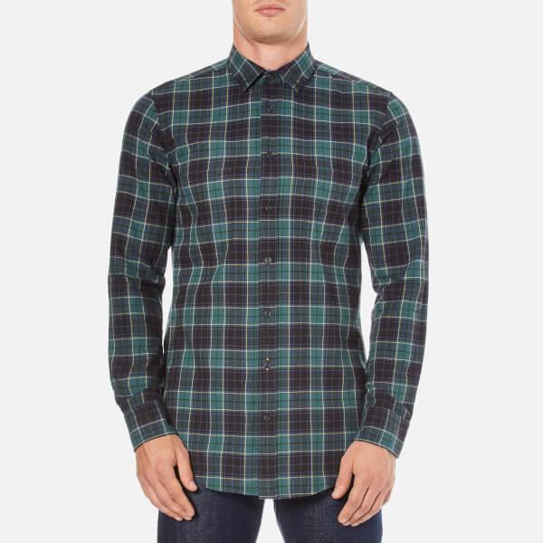 BOSS Orange Men's Elonge Check Long Sleeve Shirt - Dark Blue