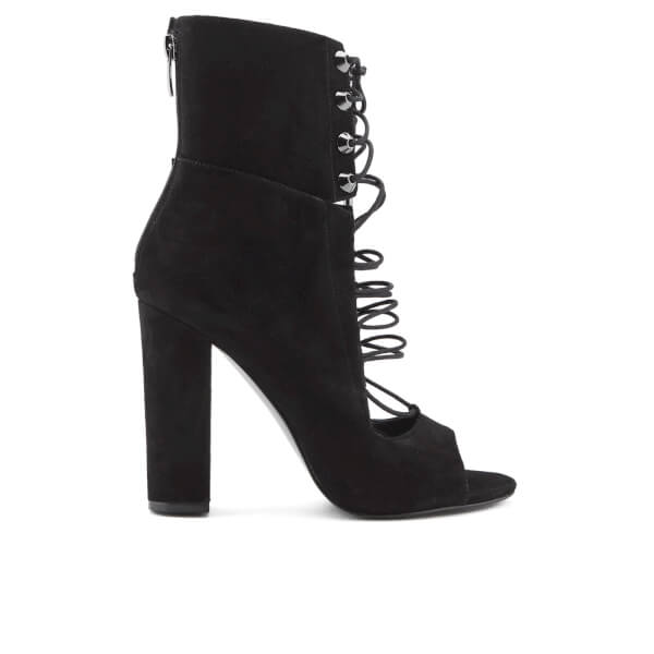 Kendall + Kylie Women's Ella Suede Lace Front Heeled Sandals - Black