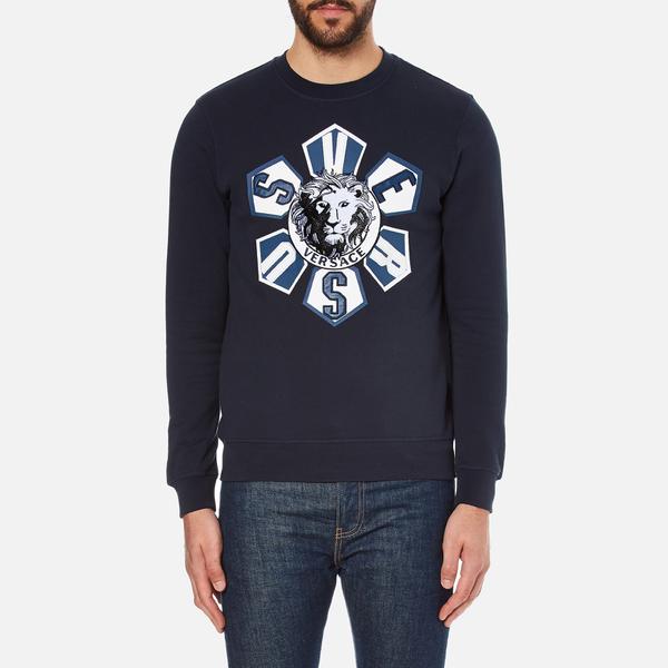 Versus Versace Men's Large Logo Crew Sweatshirt - Blu-Stampa