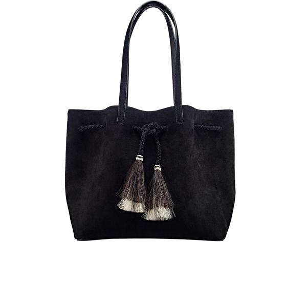 Loeffler Randall Women's Suede Drawstring Tote Bag - Black/Black Natural
