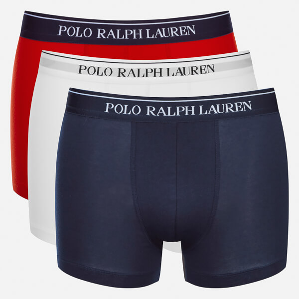 polo ralph lauren men 39 s 3 pack boxer shorts white red. Black Bedroom Furniture Sets. Home Design Ideas