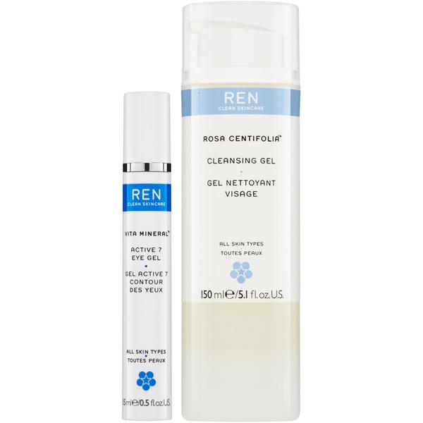 REN Rosa Centifolia Cleansing Gel & Vita Mineral Active 7 Eye Gel Duo (Worth £34.00)
