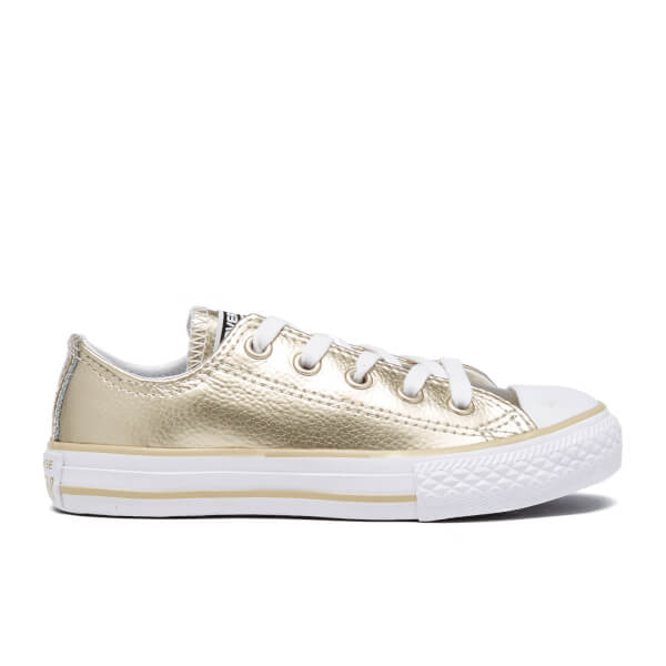 Converse Kids' Chuck Taylor All Star Metallic Leather OX Trainers - Light Gold/White