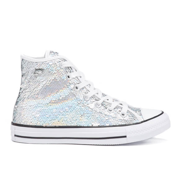 cbf436cd7634e6 Converse Women s Chuck Taylor All Star Holiday Party Hi-Top Trainers -  Silver White