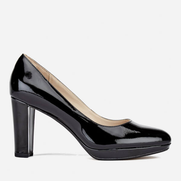 Clarks Women's Kendra Sienna Patent Platform Court Shoes - Black