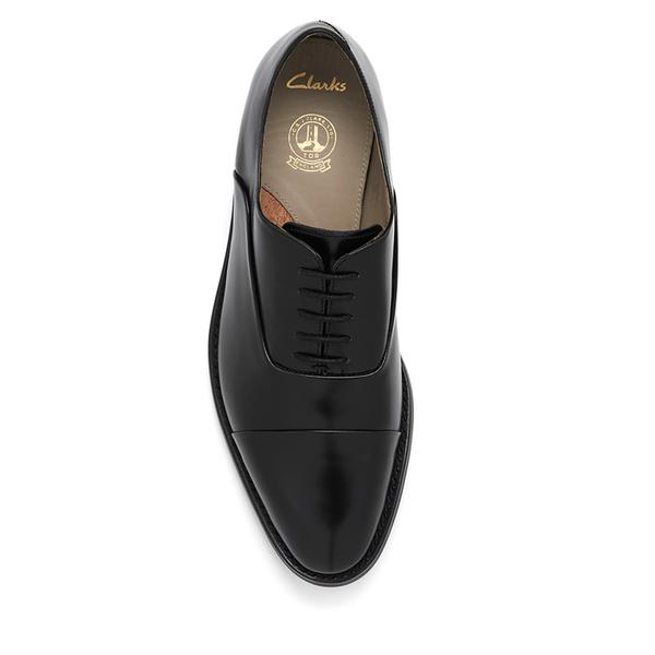 Clarks Men S Swinley Cap Leather Toe Shoes Black Image 3