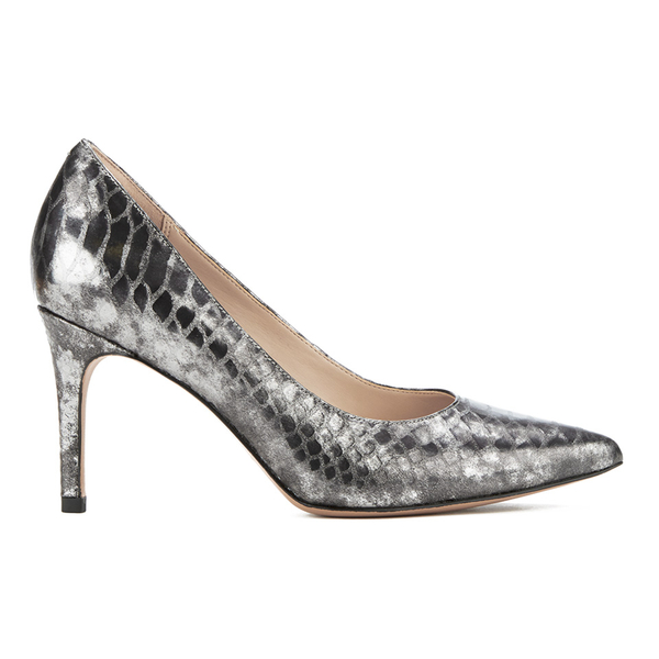 Clarks Women's Dinah Keer Leather Metallic Court Shoes - Silver Metallic