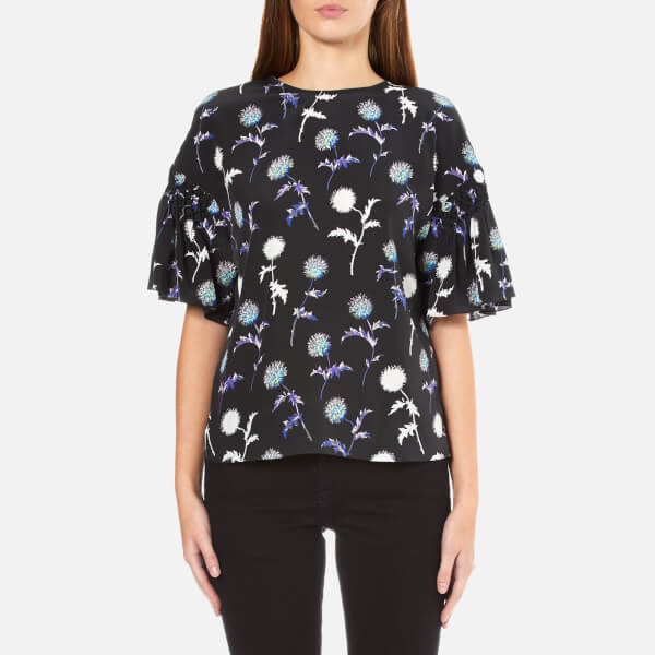 KENZO Women's Dandelion Silk Top With Flared Sleeves - Black