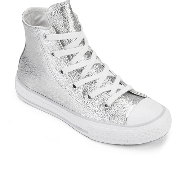 f24ac8143b95 Converse Kids  Chuck Taylor All Star Metallic Leather Hi-Top Trainers -  Pure Silver