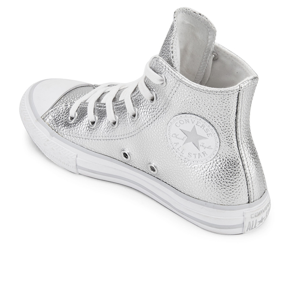 027685fc3054 Converse Kids  Chuck Taylor All Star Metallic Leather Hi-Top Trainers -  Pure Silver