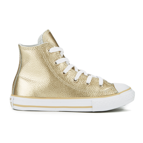 Converse Kids  Chuck Taylor All Star Metallic Leather Hi-Top Trainers -  Light Gold 33b0bd531