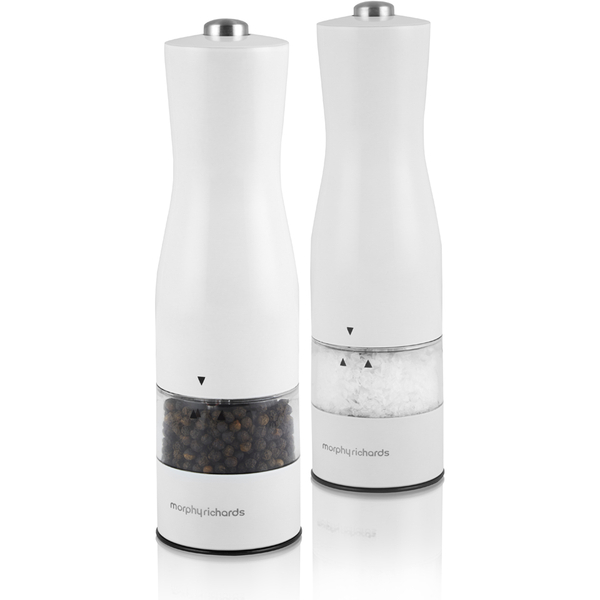 Morphy Richards 974234 Electric Salt Pepper Mill White Image 1