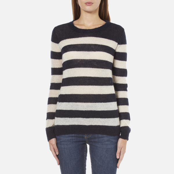 Maison Scotch Women's Striped Crew Neck Jumper - Multi