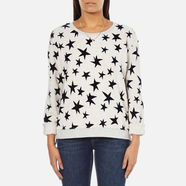 Maison Scotch Women's Crew Neck Sweatshirt With Allover Star Print - Grey