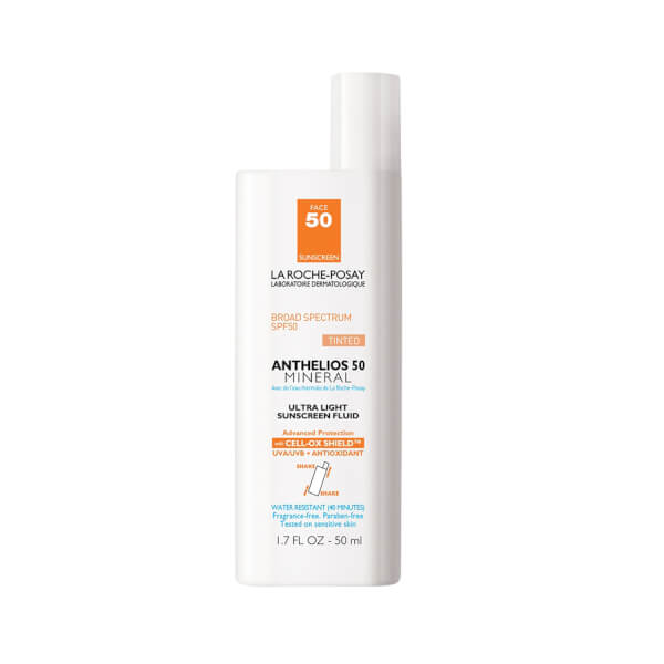 La Roche-Posay Anthelios 50 Mineral Sunscreen Tinted for Face, Ultra-Light Fluid SPF 50 with Antioxidants, 1.7 Fl. Oz.