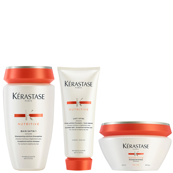 Kérastase Nutritive Bain Satin 1 250ml Nutritive Lait Vital 200ml & Masquintense Cheveux Fins (For Thin Hair) 200ml